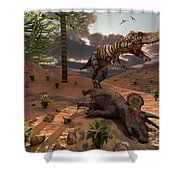 A T-rex Comes Across The Carcass Shower Curtain