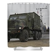 A Tactical Vehicle Is Off-loaded Shower Curtain