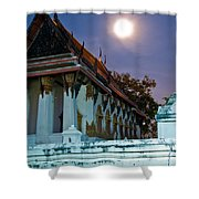 A Tempel In A Wat During A Full Moon Night  Shower Curtain