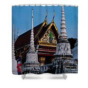 A Temple In A Wat Monestry In Tahiland Shower Curtain