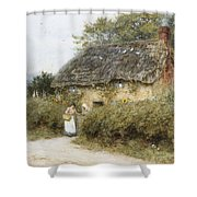 A Thatched Cottage Near Peaslake Surrey Shower Curtain