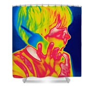 A Thermogram Of A Boy Talking Shower Curtain
