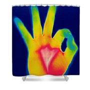A Thermogram Of A Hand Giving The Ok Shower Curtain by Ted Kinsman