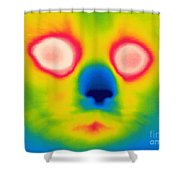 A Thermogram Of A Long Haired Cat Shower Curtain