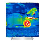 A Thermogram Of A Man Working On A Car Shower Curtain