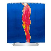 A Thermogram Of A Nude Man Profile Shower Curtain
