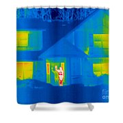 A Thermogram Of A Person Waving In House Shower Curtain