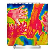 A Thermogram Of A Pile Of Human Hands Shower Curtain