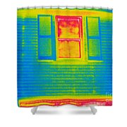 A Thermogram Of A Window Shower Curtain