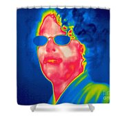 A Thermogram Of A Woman With Glasses Shower Curtain
