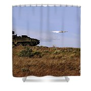 A Tow Missile Is Launched From An Shower Curtain