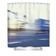 A Tractor Trailer Speeding Shower Curtain