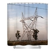 A Transmission Tower Carrying Electric Lines In The Countryside Shower Curtain