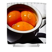 A Triple Eggspresso Shower Curtain