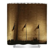 A Twilight View Of American Flags Shower Curtain