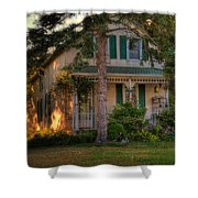 A Typical Old Cottage In Town Shower Curtain