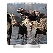 A Tyrannosaurus Rex Moves Shower Curtain by Mark Stevenson