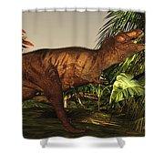 A Tyrannosaurus Rex Runs Shower Curtain by Corey Ford