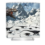 A  Tyrannosaurus Rex Stalks A Mixed Shower Curtain