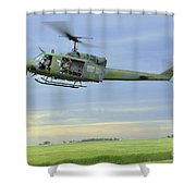 A Uh-1n Huey Helicopter Prepares Shower Curtain