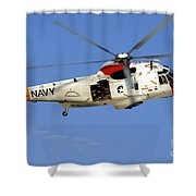 A Uh-3h Sea King Helicopter Flies Shower Curtain