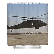 A Uh-60 Black Hawk Landing Shower Curtain