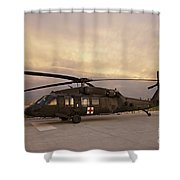 A Uh-60l Black Hawk Medevac Helicopter Shower Curtain
