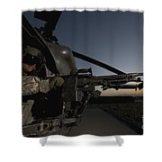 A Uh-60l Blackhawk Door Gunner Mans Shower Curtain