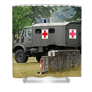 A Unimog In An Ambulance Version In Use Shower Curtain