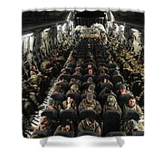 A Unit Of U.s. Army Soldiers In A C-17 Shower Curtain