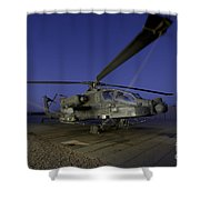 A U.s. Army Ah-64d Apache Helicopter Shower Curtain