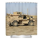 A U.s. Army Cougar Mrap Vehicle Shower Curtain