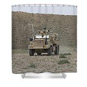 A U.s. Army Cougar Patrols A Wadi Shower Curtain