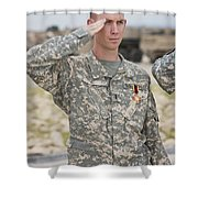 A U.s Army Soldier And Recipient Shower Curtain