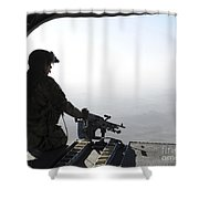 A U.s. Army Soldier Scans The Area Shower Curtain