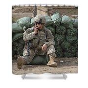 A U.s. Army Soldier Talks On A Radio Shower Curtain