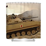 A U.s. Army Soldier Trains On An M113 Shower Curtain