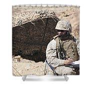 A U.s. Marine Communicates With Close Shower Curtain