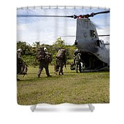 A U.s. Marine Corps Ch-46e Sea Knight Shower Curtain