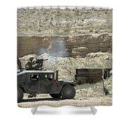 A U.s. Marine Fires A Mark 19-3 40mm Shower Curtain
