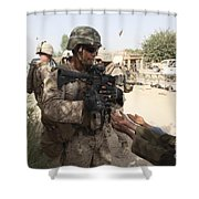 A U.s. Marine Gives A Piece Of Candy Shower Curtain