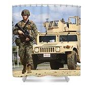 A U.s. Marine Guides A Humvee Shower Curtain