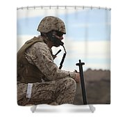 A U.s. Marine Uses A Field Phone Shower Curtain