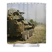 A U.s. Marine Uses An M-240b Machine Shower Curtain by Stocktrek Images