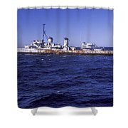 A U.s. Navy Deactivated Ship Sits Ready Shower Curtain