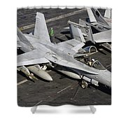 A Us Navy Fa-18c Hornet Parked Shower Curtain
