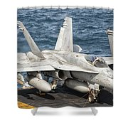 A Us Navy Fa-18c Hornet Tied Shower Curtain by Giovanni Colla