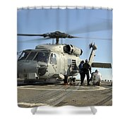 A U.s. Navy Sh-60b Seahawk Helicopter Shower Curtain