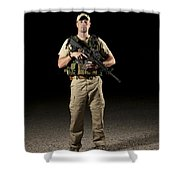 A U.s. Police Officer Contractor Shower Curtain