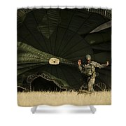 A U.s. Soldier Collapses His Parachute Shower Curtain